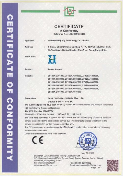 Chine Shenzhen Highfly Technology Co., Limited Certifications